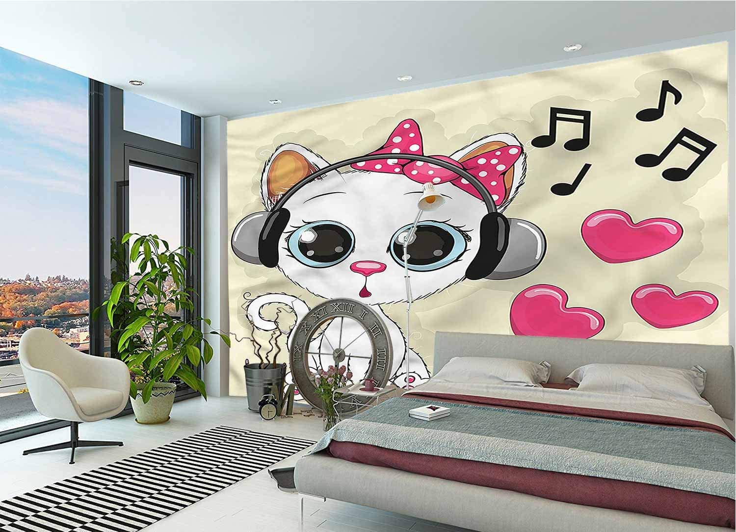 LCGGDB Cartoon Large Wall Mural,Funny Kitty with Headphones Removable Large Sticker Foil Wall Decor for Office Kids Bedroom Nursery Family Decor-96x66 Inch