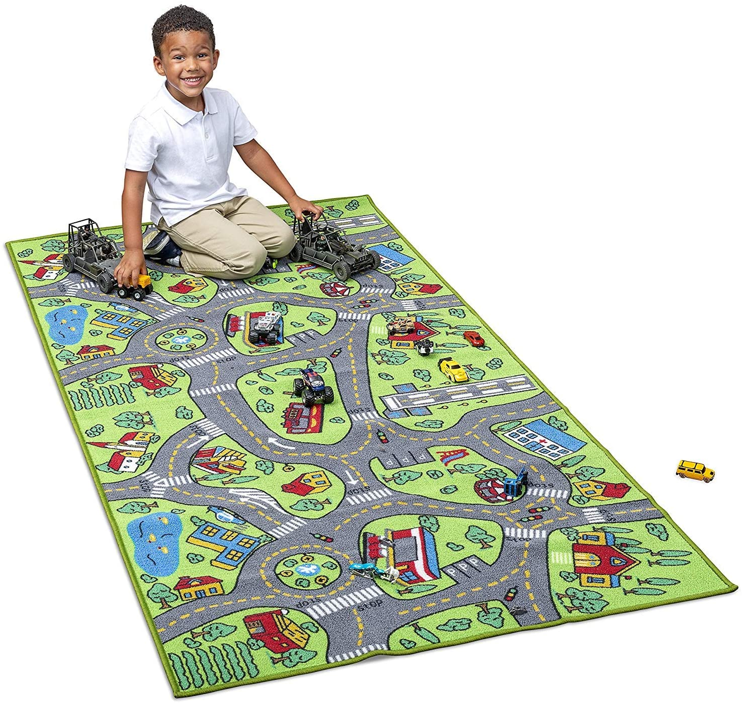 Kids Carpet Extra Large 80 x 40 Playmat City Life - Learn & Have Fun Safe! Childrens Educational, Road Traffic System, Multi Color, Play Mat Rug Great for Playing with Cars, Bedroom Playroom, Area