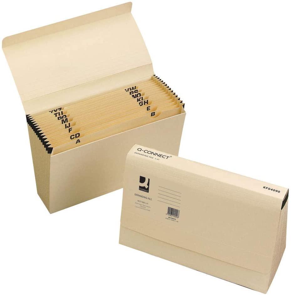 Q-Connect KF04090 Expanding File 1-31 31-Pocket Cream