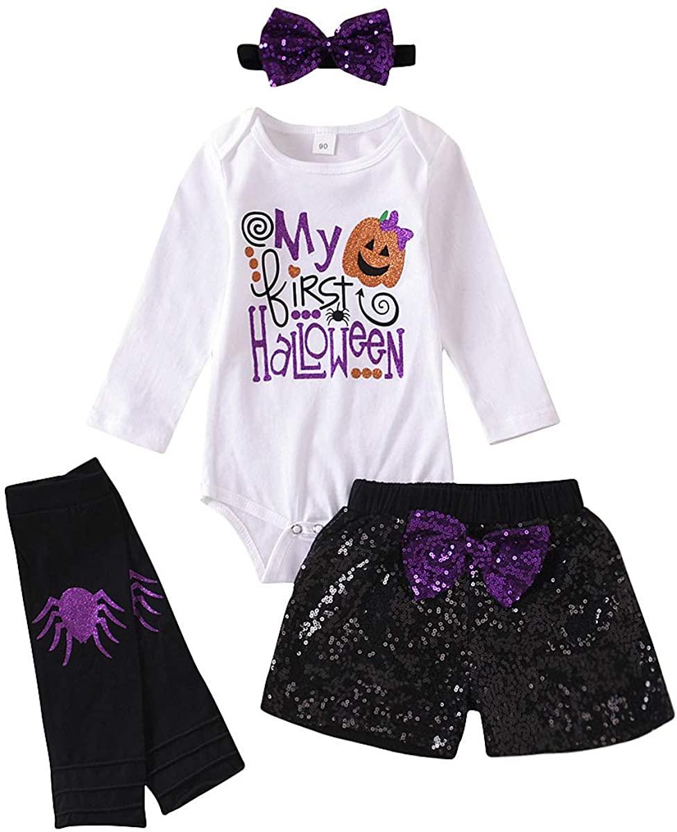 4Pcs Newborn Toddler Baby Girls Outfit My 1st Halloween Romper+ Sequins Shorts+ Leg Warmer+ Headband Clothes Set