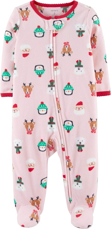 Carter's Baby Girls' Christmas Zip-Up Fleece Sleep & Play (9 Months)