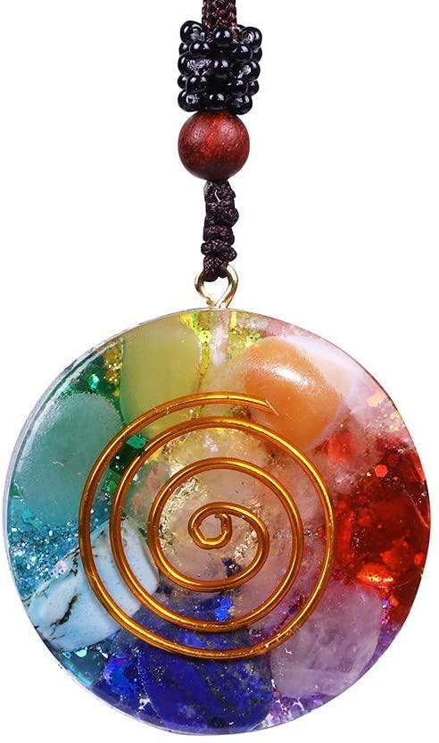 DFYYQ Reversible Orgonite Mixed Chakra Orgone Natural Stone Pendant Revitalization Relaxation Energy Enhancing Crystal Necklace