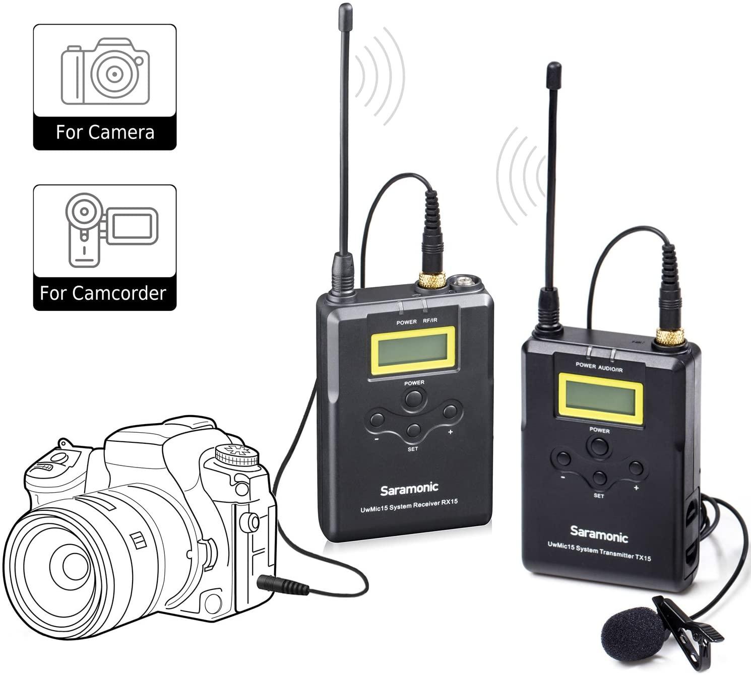 Wireless Lavalier Microphone System, Saramonic UwMic15 UHF 16 Channel Omnidirectional Lap Mic for DSLR Camra,Camcorder Canon 5D II/5D III, Canon 6D, Panasonic GH5/GH4, Nikon,Panasonic