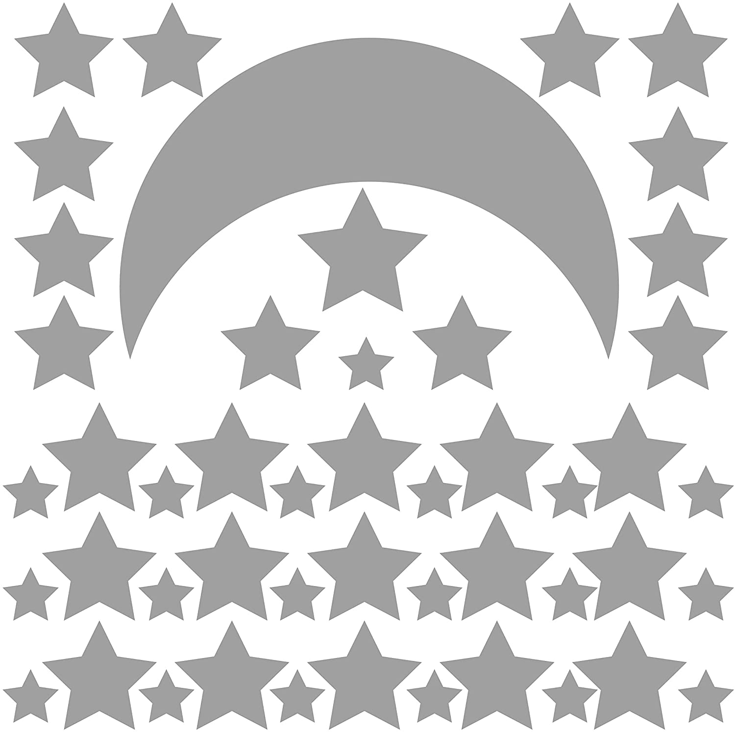 Anumo Star Moon Wall Sticker Paper Children's Bedroom Baby Room Wall Layout Painted Living Room Decoration (Curve, Silver)