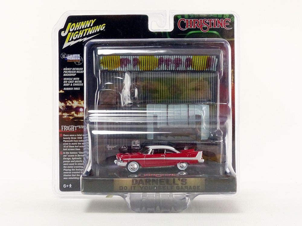 Johnny Lightning Christine 1958 Plymouth Fury Diorama (Includes Darnell's Garage Interior) 1:64 Scale Die-Cast Model Car