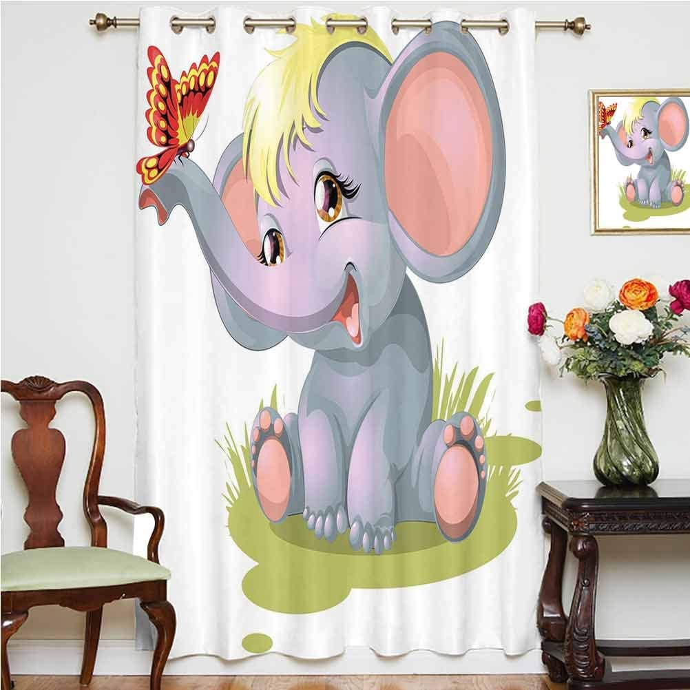 Elephant Nursery Decor Blackout Curtain Newborn Animal Mascot Puppet Yellow Hair Fun Happiness Butterfly Decorative Thermal Backing Sliding Glass Door Drape ,Single Panel 52x84 inch,for Kid's RoomMult