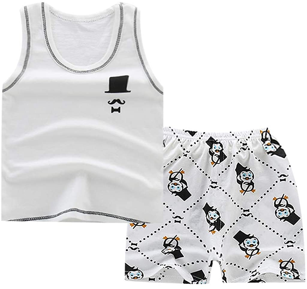 2PCS Baby Outfits, Infant Newborn Girls Boys Sleeveless Cartoon Tank Tops Vest Floral Shorts Summer Clothes Sets