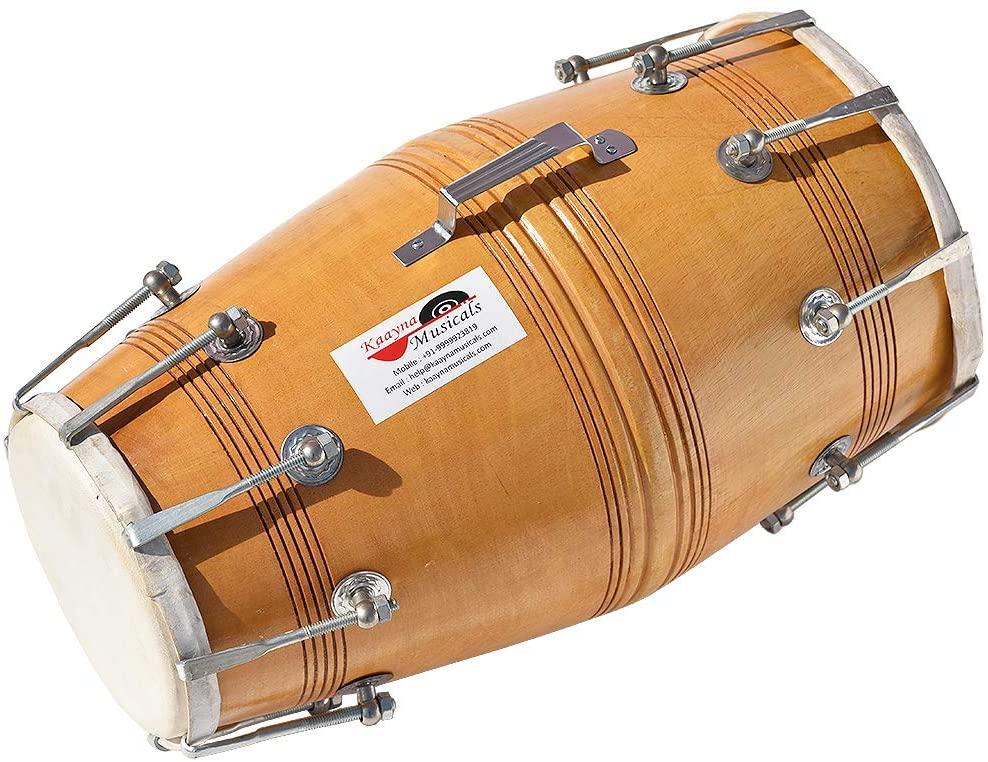 Dholak Drum, Bolt Tuned, Hand Made, Mango Wood, Special Skin, Natural Wood Colour, Gig Bag, Tuning Key, Nice Sound, For Bhajan Keertan, Mantra, Ladies Sangeet, Dance & Music, etc.