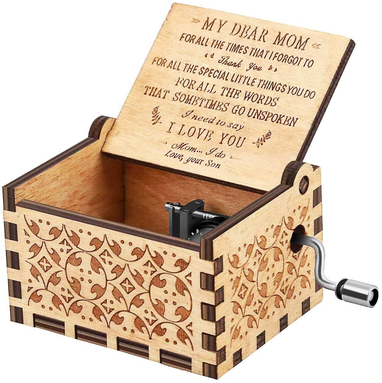 RUYE Music Box Wooden Laser Engraved Vintage Musical Box Birthday Christmas - U R My Sunshine - Son to mom