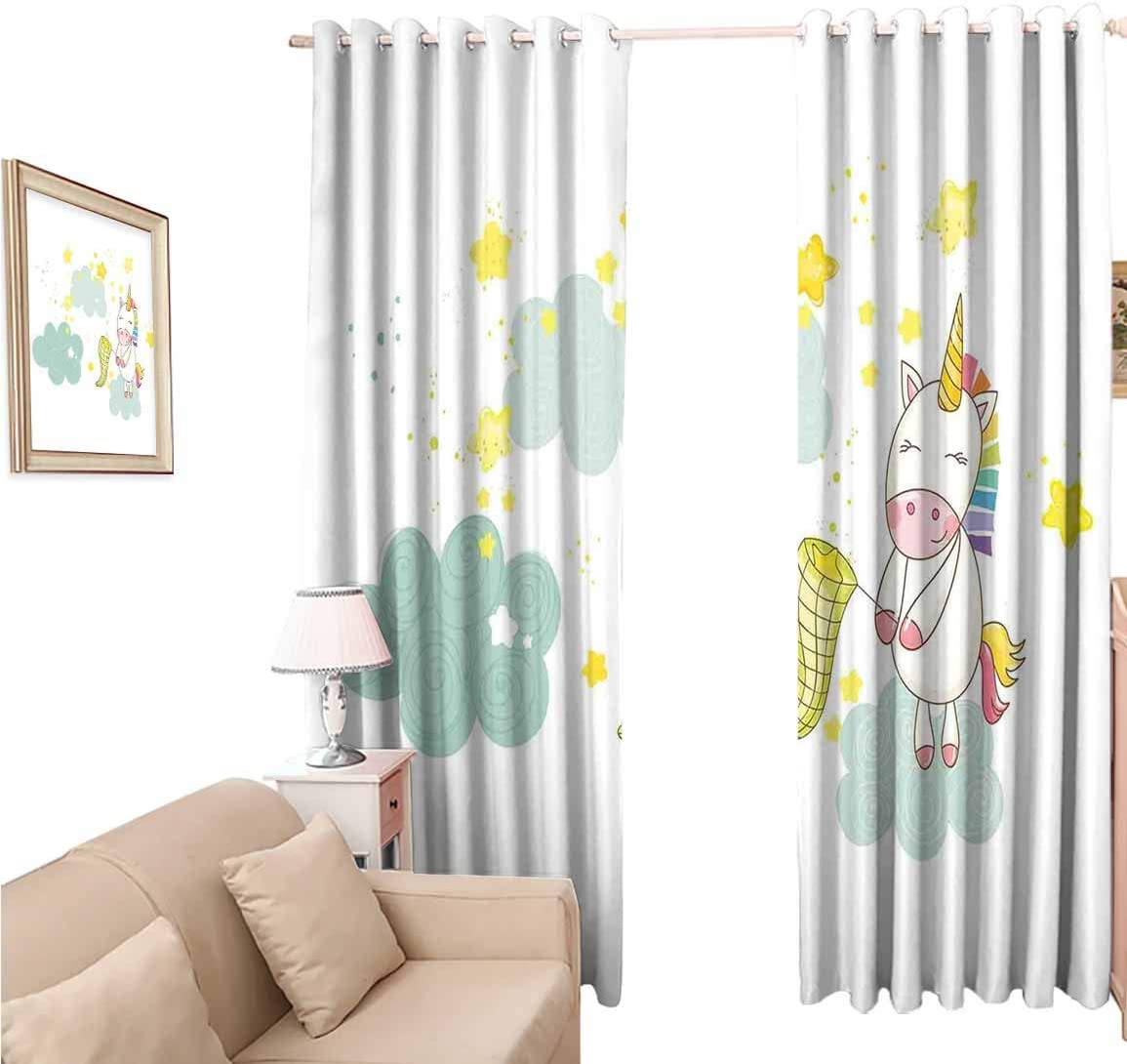 oobon Blackout Wide Curtains 108 Inches, Unicorn Baby Mystic Unicorn Girl Sitting on Fluffy Clouds and Hunting Nursery, for Bedroom and Living Room, 108x108 inch