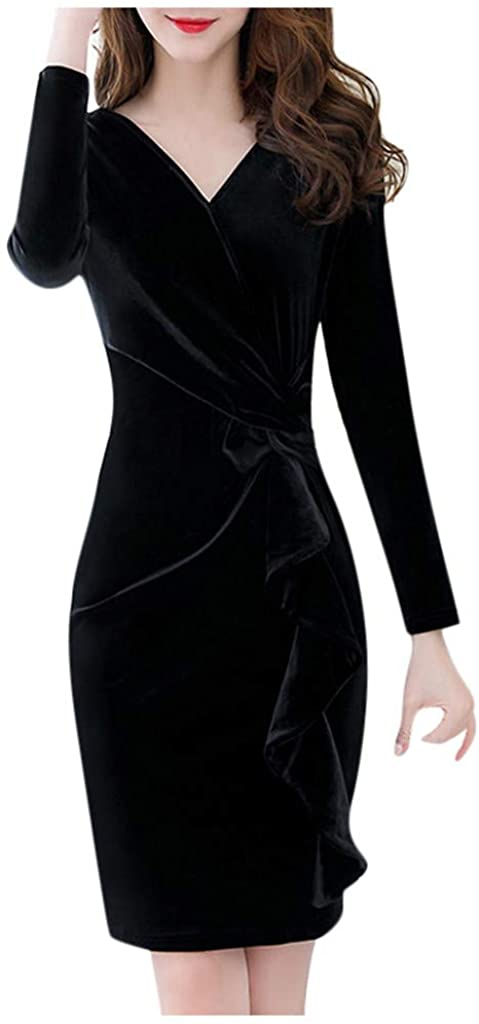 YOMXL Winter Women V-neck Velvet Long Sleeve Slim High Waist Midi Dress Cocktail dress