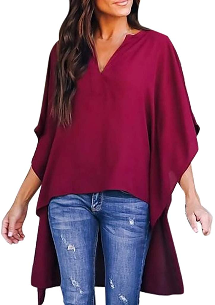 HNTDG High Low Blouses for Women V-Neck 3/4 Bat Wing Sleeve Chiffon Tops Shirts Loose Solid T-Shirt Blouses