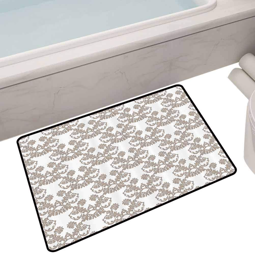 Bath Mat Set Kitchen Door Rococo Style Flourishing Flowers Imperial Pattern Old Fashioned Classy Tile Delicate,35