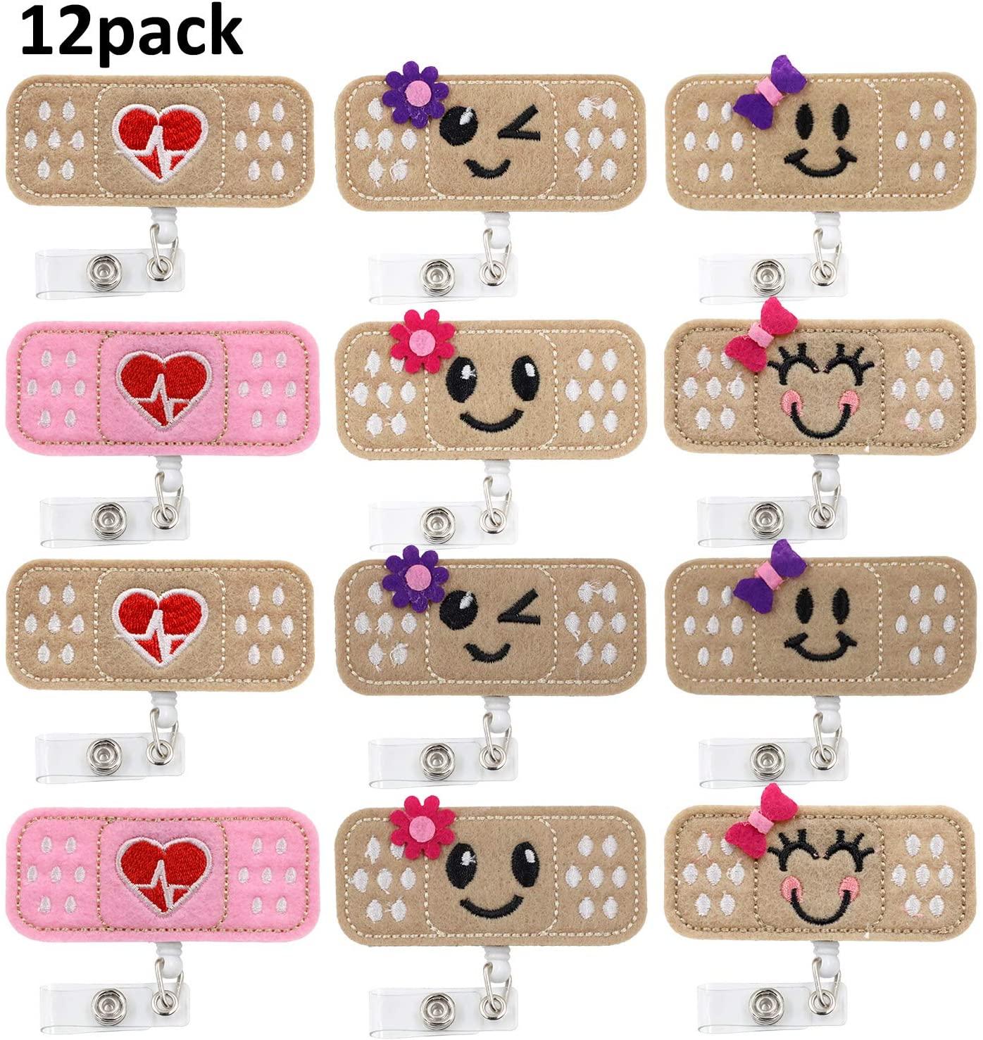 12 Pieces Retractable Nurse Badge Reel Holder Badge Bandage Cute Felt Nurse Badge Clipsfor Nurses,Doctors,Volunteer,Teachers (Color B)