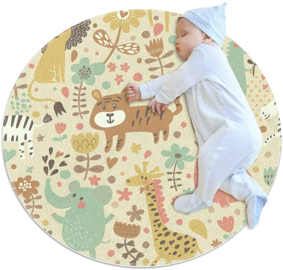 Horse Running White Baby Crawling mat Home Decorative Carpet Soft and Washable Pad Non-Slip for Kids Toddler Infants Room 2feet 3.5inch