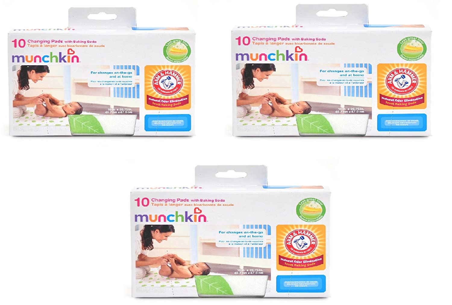 Munchkin Arm & Hammer Disposable Changing Pad - 10 Count (Pack of 3)