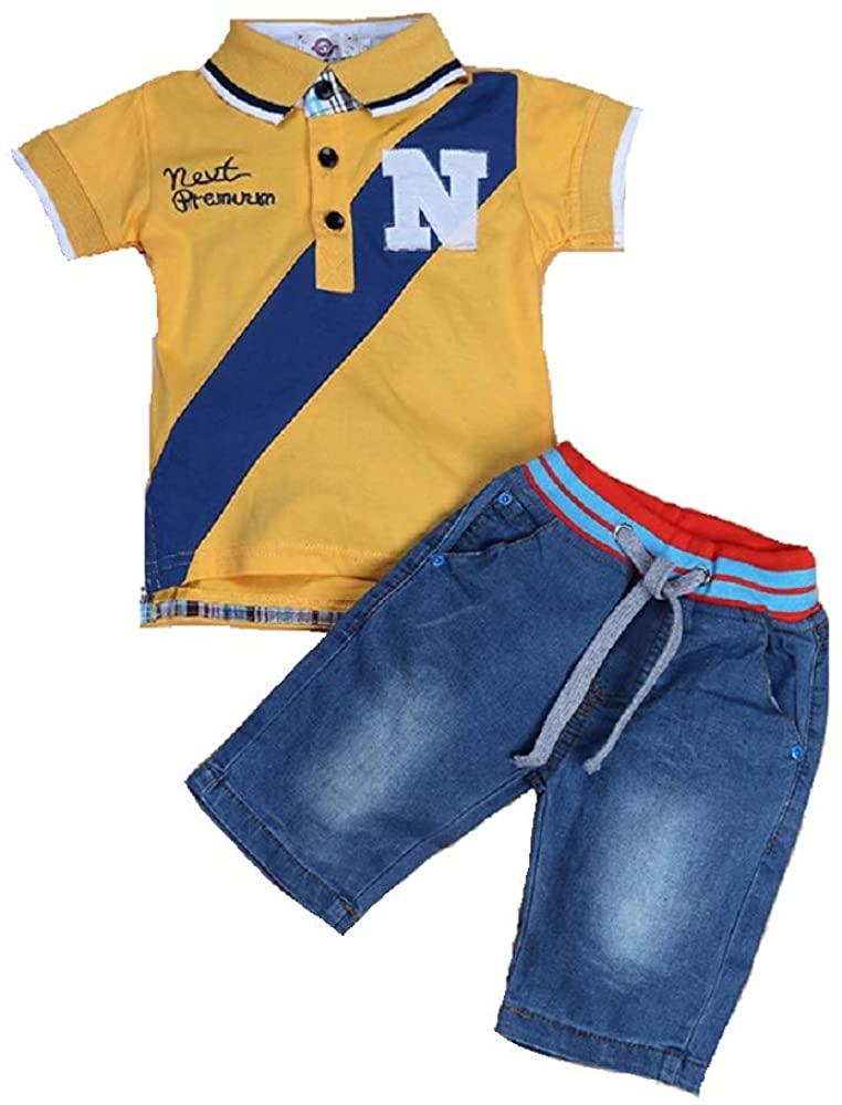 Hooyi Boys Cotton T-Shirt Jeans Suit Short-Sleeve Turndown Collar Top Childrens Clothing