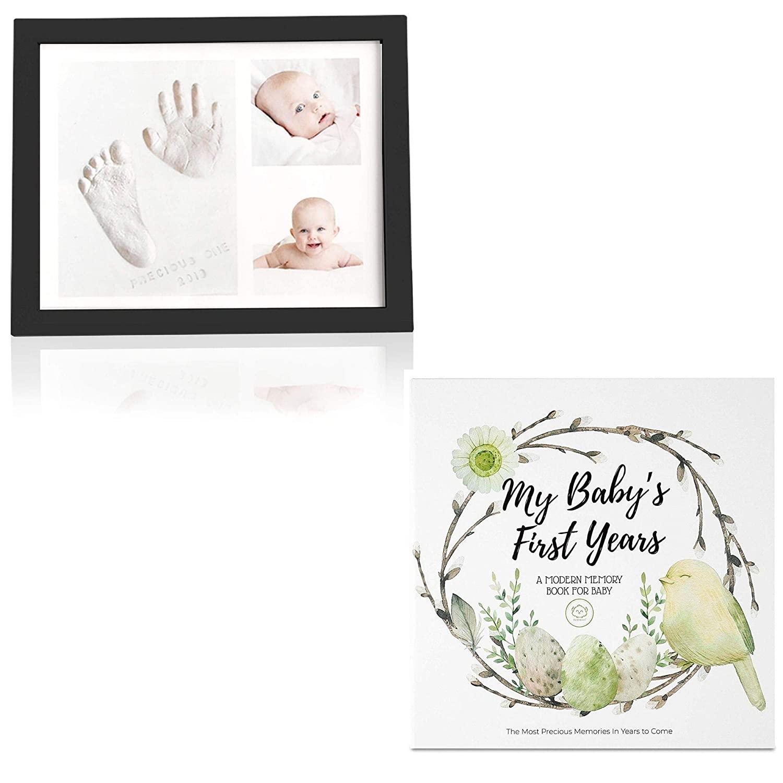 Newborn Baby Keepsake Set Bundle - Baby First 5 Years Memory Book & Baby Handprint Footprint Keepsake Photo Frame - Baby Nursery Art Kit and Journal for Baby Boys & Girls