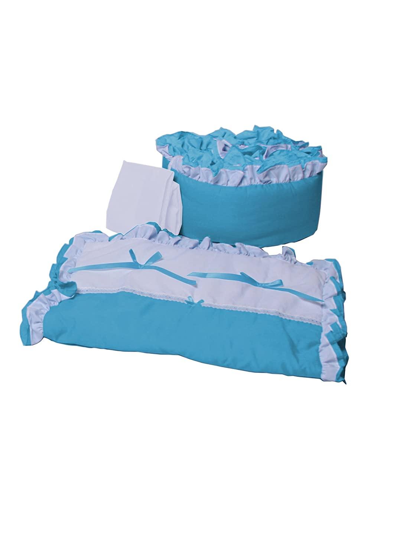 Babyoll Bedding Regal Neutral Mini Crib/Portable/Port-a-Crib Bedding Set for boy and Girly, Aqua Blue/White