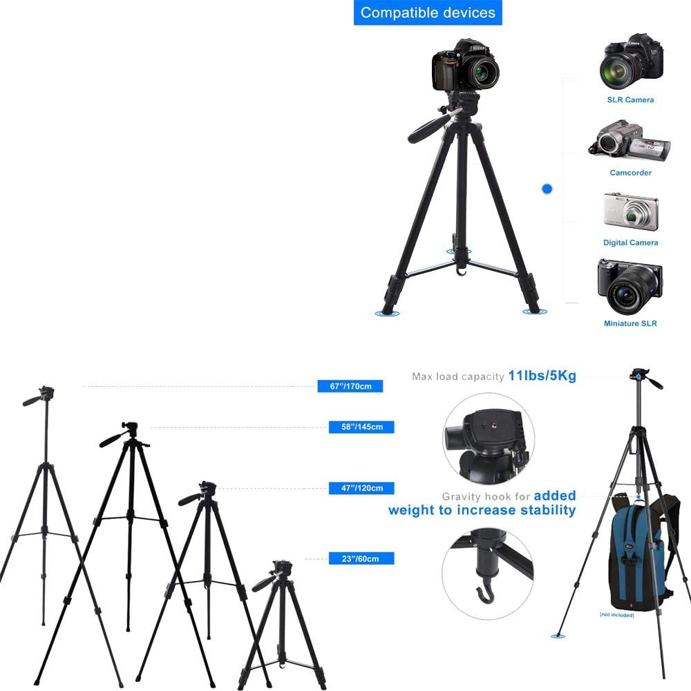 170cm 67 inch Portable Camera Tripod Stand Holder Adjustable Rotatable Retractable Aluminum Tripods Smartphones Mount + Carrying Bag for iPhone X 6 7 8 Plus Canon Nikon Sony DV Video SLR DSLR Camera