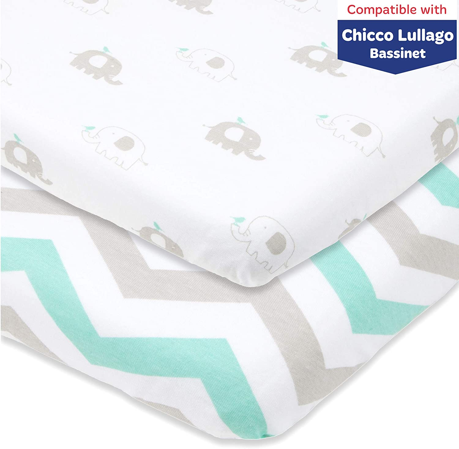 Bassinet Fitted Sheets Compatible with Chicco Lullago Bassinet and Chicco Close to You 3-in-1 Bedside Sleeper – Snuggly Soft Jersey Cotton – Fits Perfectly on 19 x 32 Mattress – Grey, Mint – 2 Pack