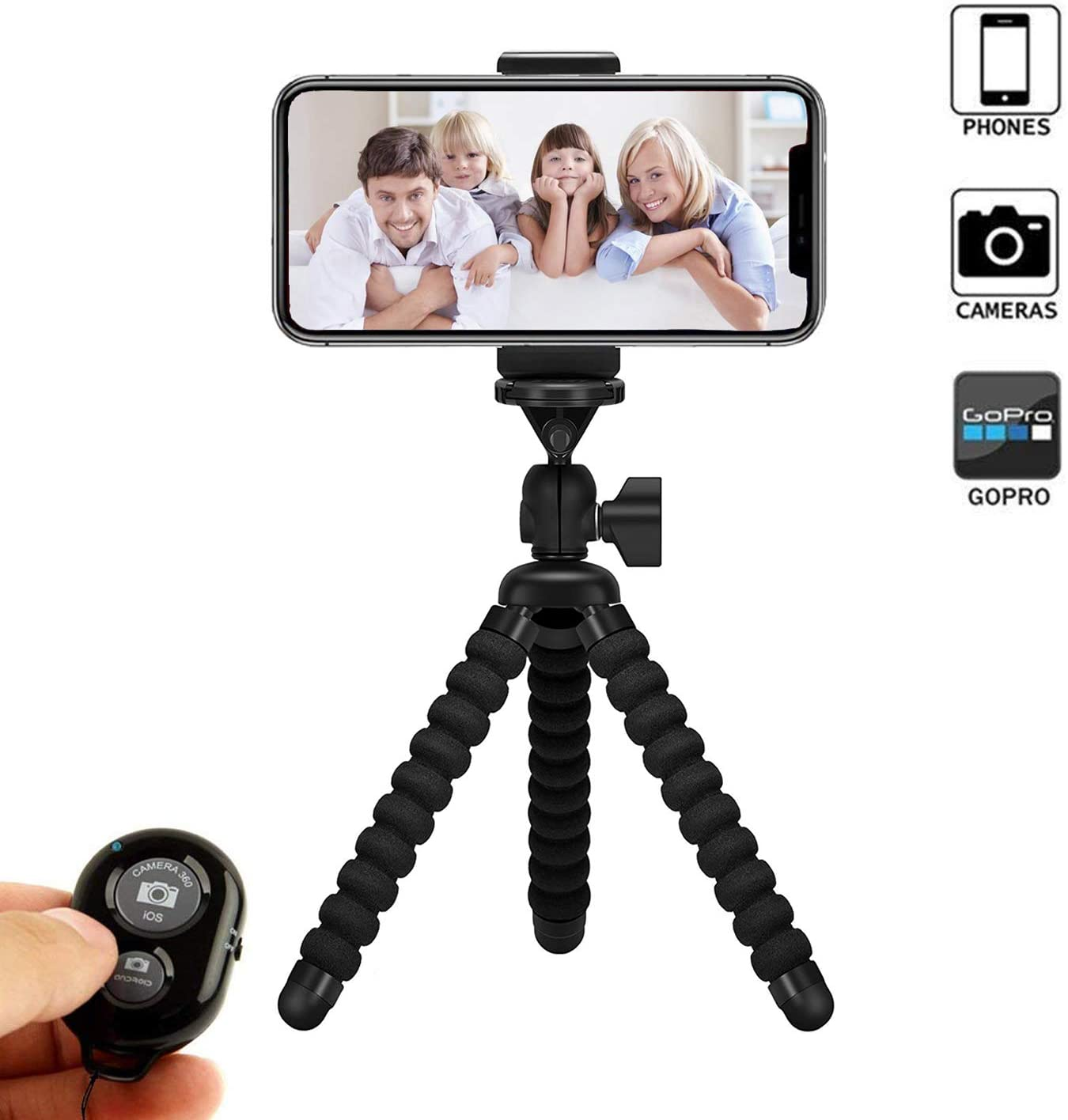 Phone Tripod, VENNKE Flexible Phone/Camera Tripod Mount Stand Holder with Wireless Remote Shutter and Universal Clip, Compatible with iPhone, Android Phone, Camera and GoPro (2020 Upgraded)