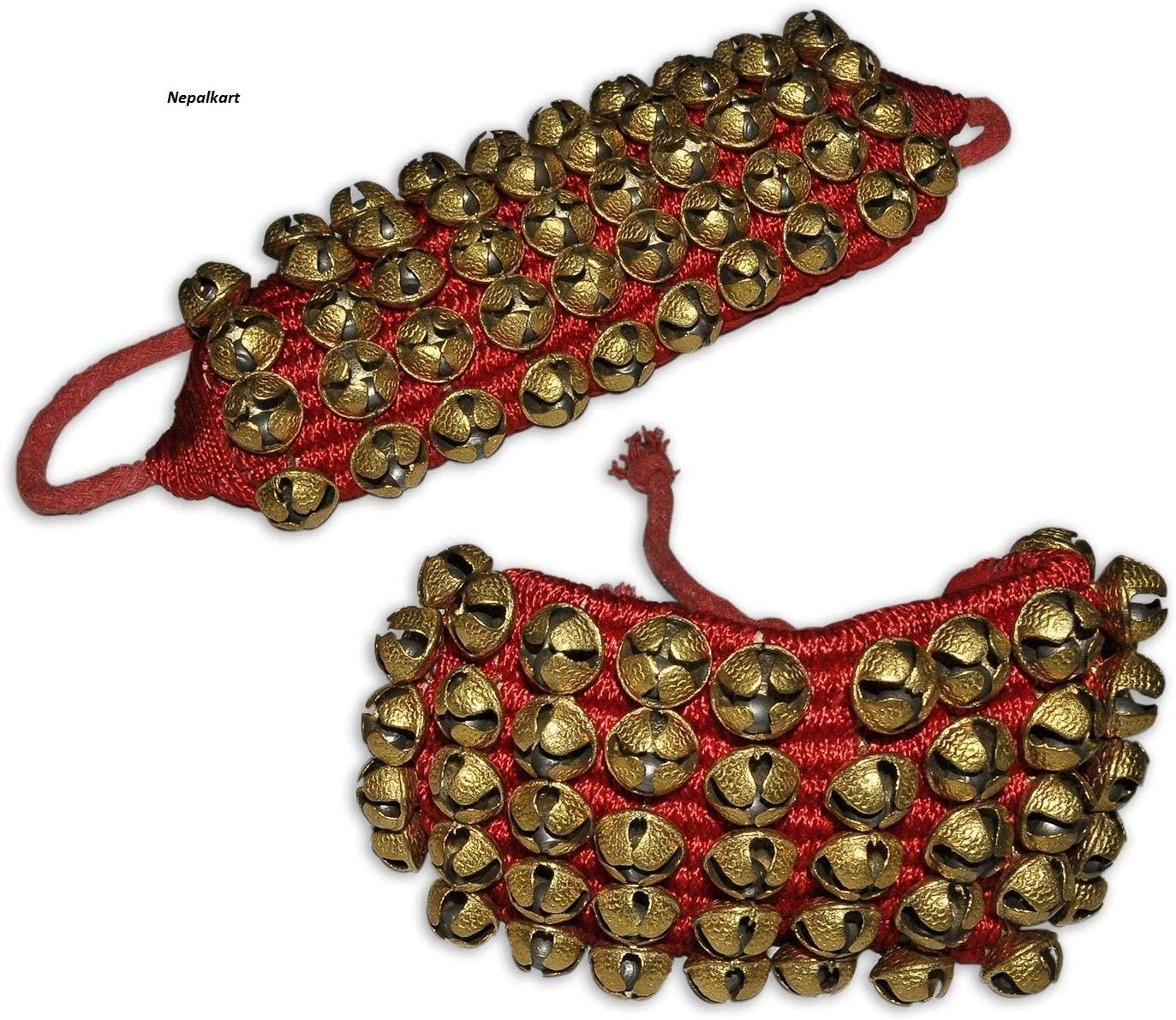 Nepalkart Best Quality 5 Line Big Dancing Bells Ghungroo Pair Handmade Indian Classical Dance Accessories Ghungroo Red Pad (16 No. Ghungroo) Kathak Ghungroo