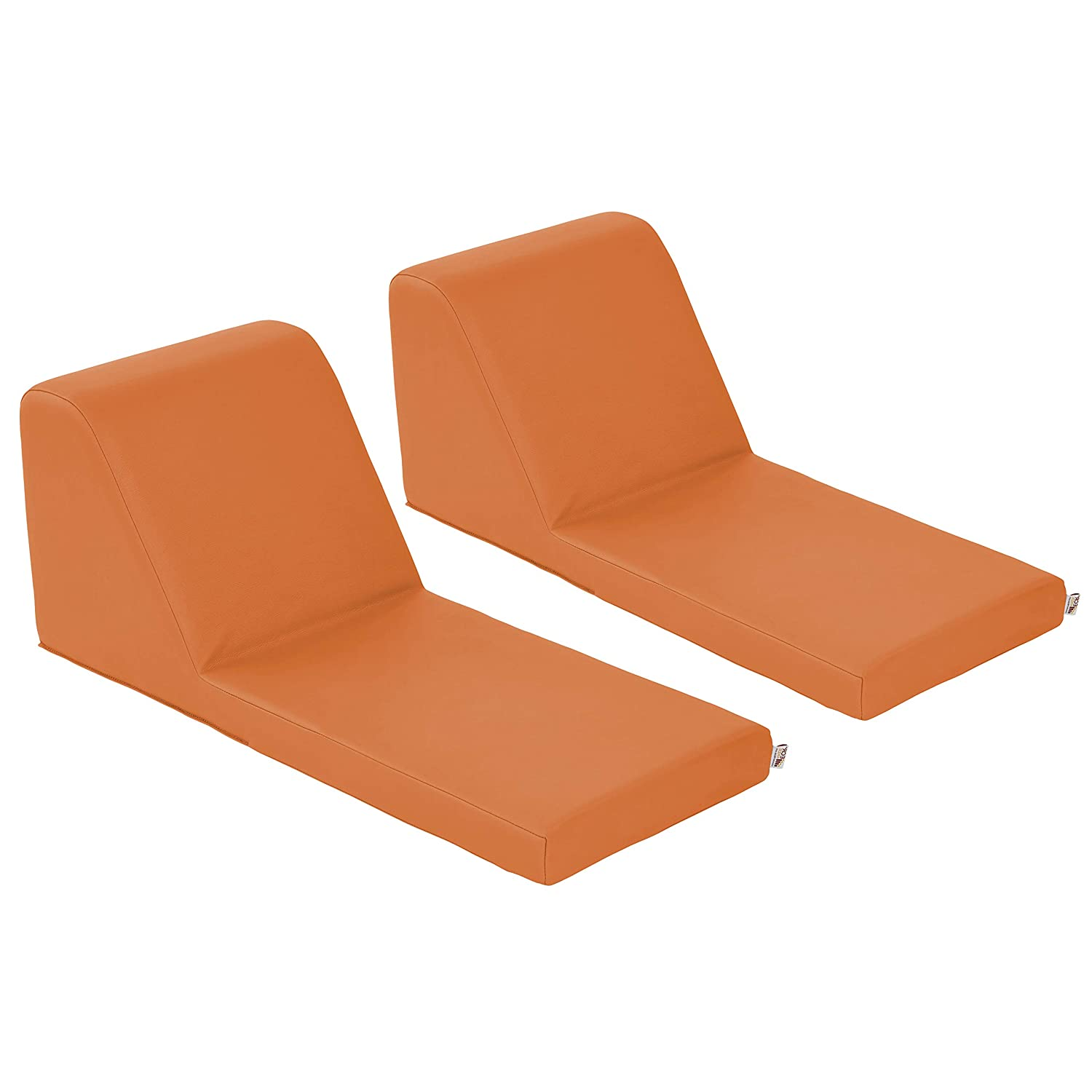ECR4Kids SoftZone Chaise Lounge Soft Foam Lounger for Kids, Orange (2-Piece)