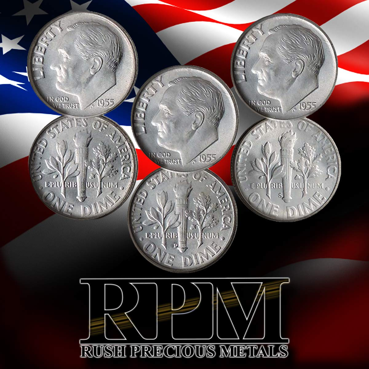 1955 P, D & S 90% Silver Roosevelt 3 Coin Set Brilliant Uncirculated