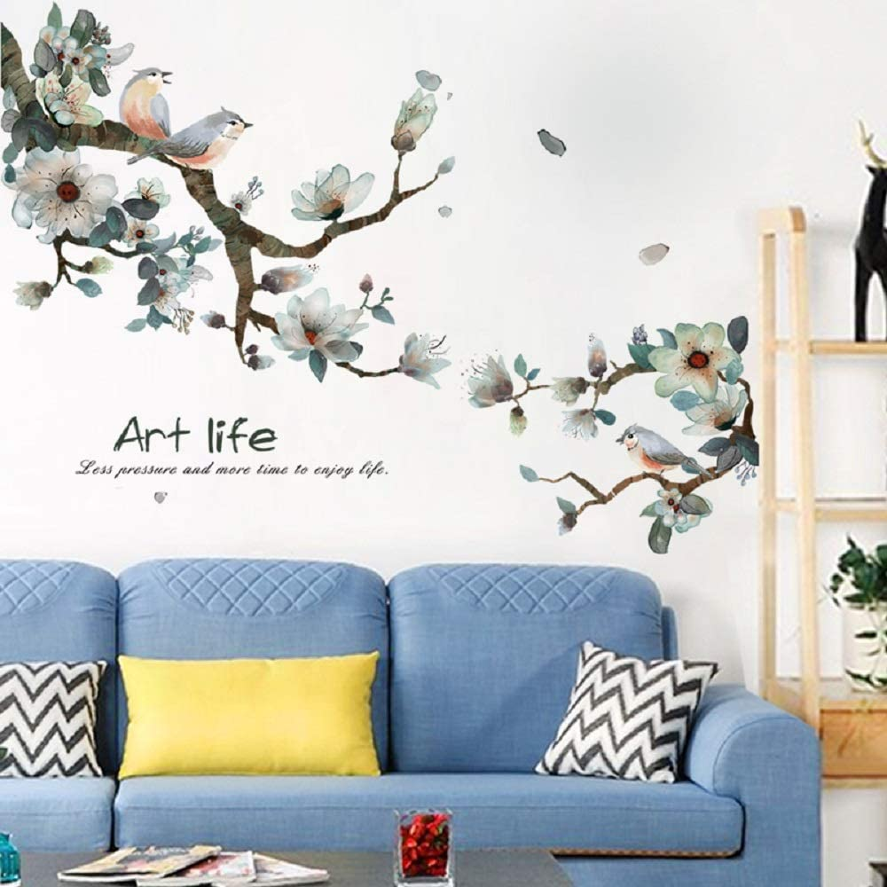 LLYDD Pink Leaf and Bird Wall Sticker Tree Leaves Plant Natual Wall Stickers Decal Art Decor Room Decoration Peel and Stick Self - Adhesive for Garden Living Room Bedroom Kitchen Playroom Nursery Room