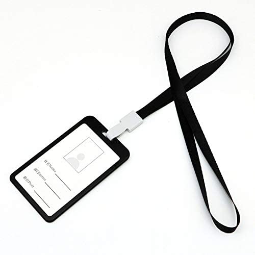 Hovico ID Badge Holder with Lanyard,Aluminium Alloy Card Holder Employee Name Vertical Double Sided Transparent ID Card Holder School Card Holder Waterproof Name Badge Holde (Black)