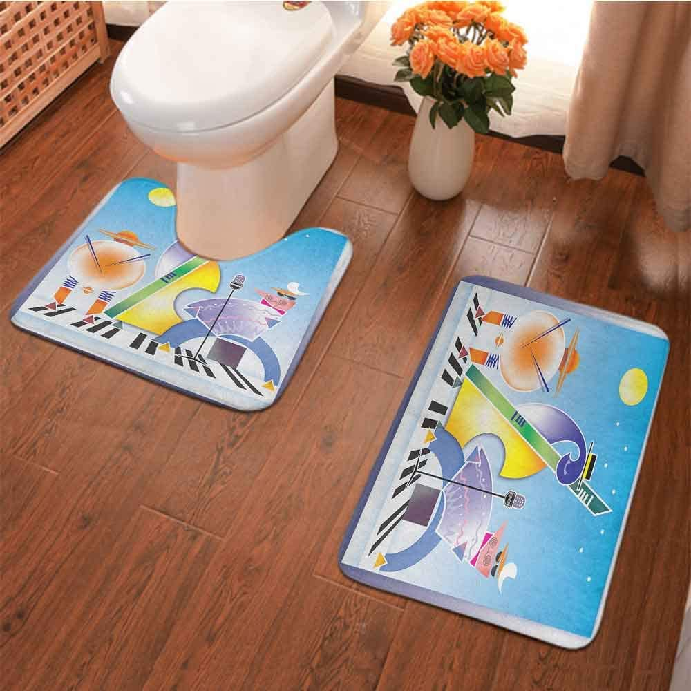 2 Pcs Washroom Rug Set Abstract Band of Geometric Shapes Drums Accordion Performing on Keyboard Surface Square U-Shape Contour Mat Maximum Absorbent, Dry Quickly Multicolor