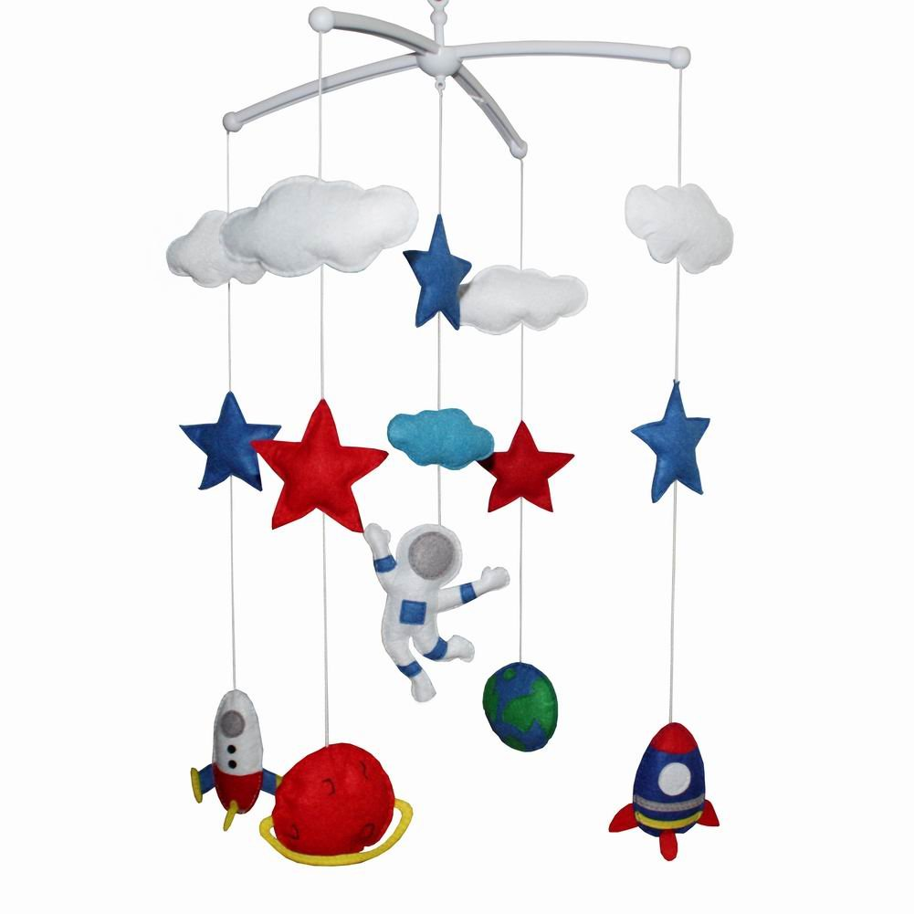 Educational Baby Crib Toy Attachments Nursery Decor Lullaby Musical Crib Mobile for Newborn Baby-A19
