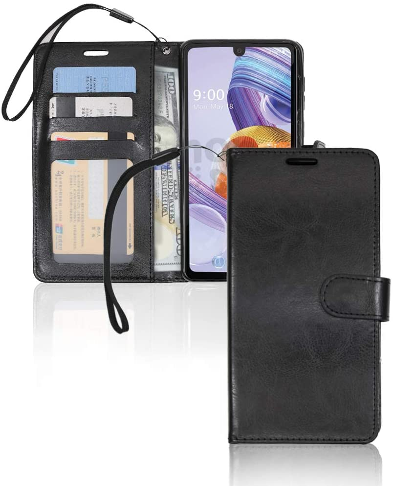 Jujucase Compatible with LG Stylo 6 Case, LG Stylo 6 Wallet Case, Premium PU Leather Case with Kickstand, Card Slots/Lanyard/Magnetic Folio Flip Protective Case. (Black)