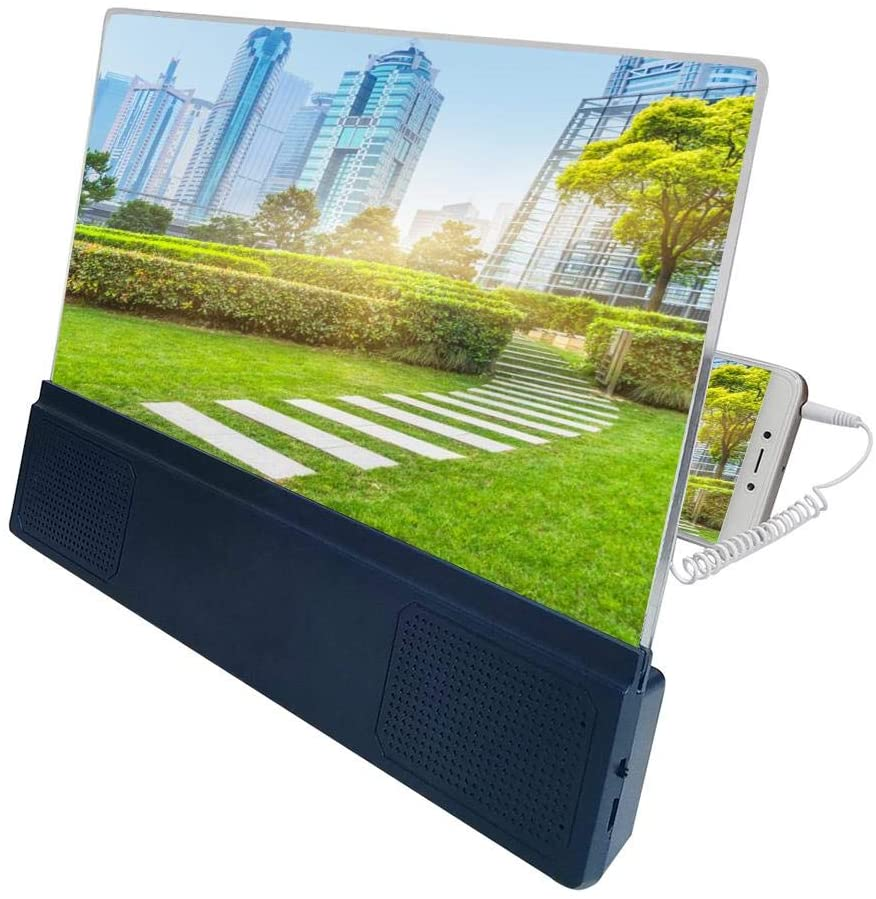 Woolves Mobile Phone Screen Amplifier 12 Inches 3D Mobile Phone Screen Video Amplifier with Two Charging Methods Protection Eyesight