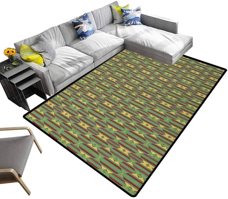 Multicolored Area Rug Kente Pattern, Baby Floor Playmats Crawling Mat Retro Revival Diamond Line Pattern with Vertical Stripes for Children to Crawl and Play Sea Green Mustard and Ruby, 5 x 8 Feet