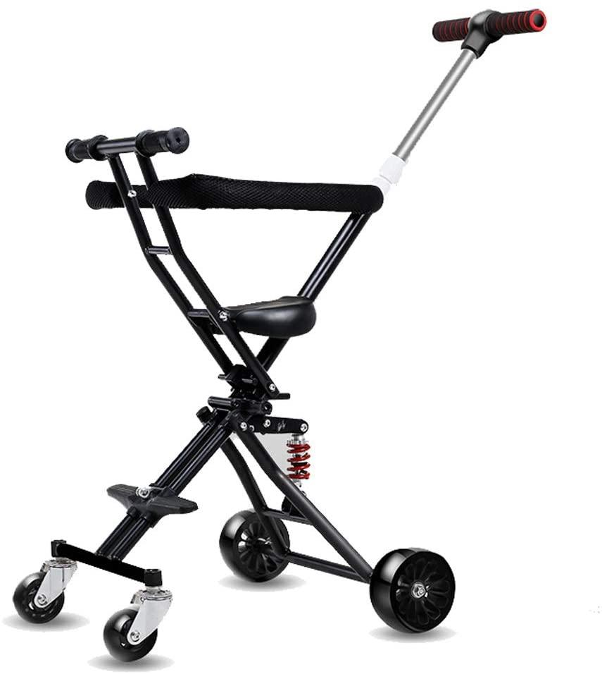 Moolo Kids' Children Car Stroller Artifact, 4-Wheeler Simple Light Folding 1-3 -6 Years Soft Seat Flash Wheel (Color : Black2)