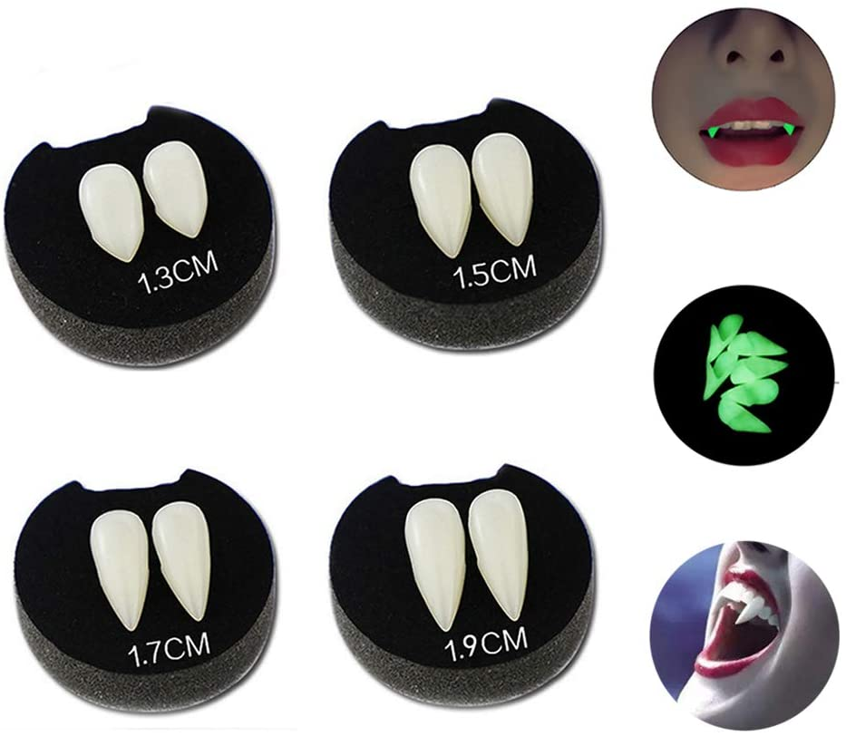 TiSkying 4 Pairs Vampire Luminous Fangs Teeth, Halloween Dentures Cosplay Props for Halloween Costume Accessory Props Party Favors