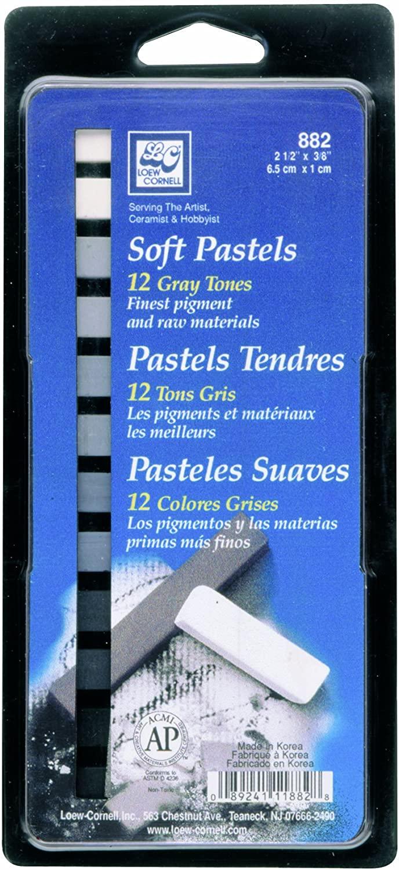 Loew-Cornell Soft Pastels Grey Tones, 12-Count
