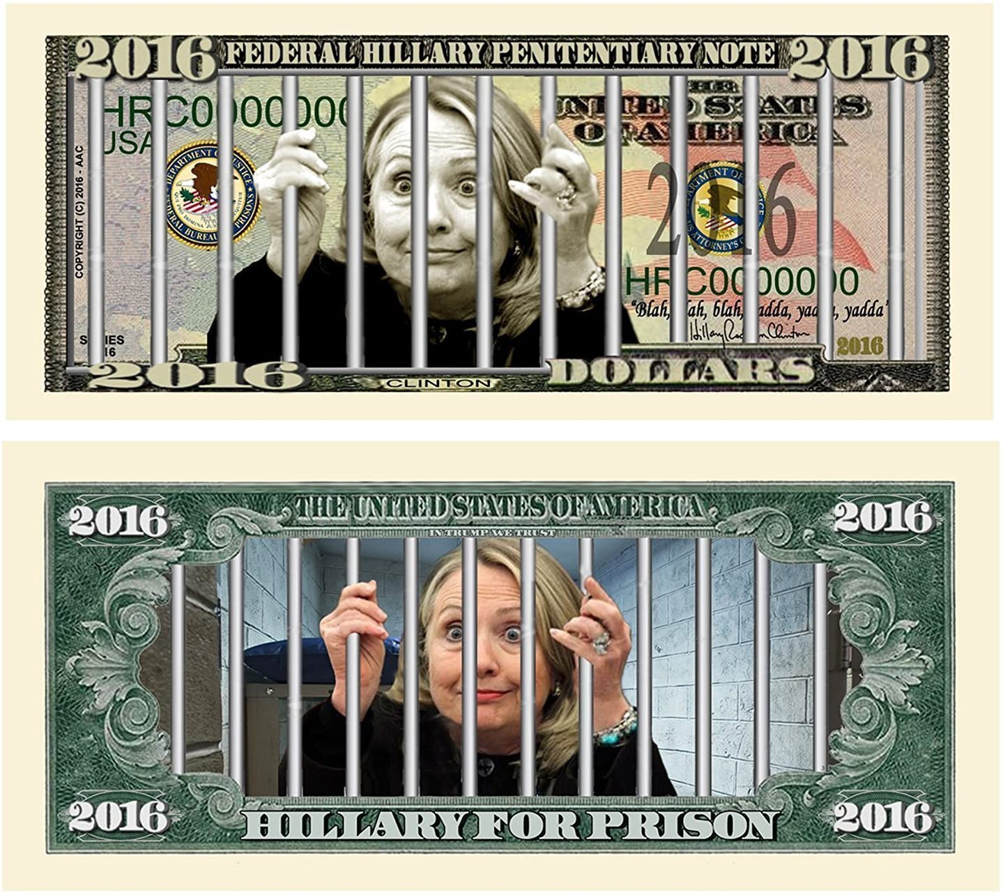 """50 Limited Edition Hillary For Prison 2016 Dollar Bills with Bonus """"Thanks a Million"""" Gift Card Set"""