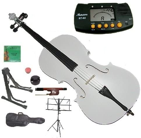Merano 1/4 Size White Student Cello with Bag and Bow+2 Sets of Strings+Cello Stand+Black Music Stand+Metro Tuner+Rosin+Rubber Mute