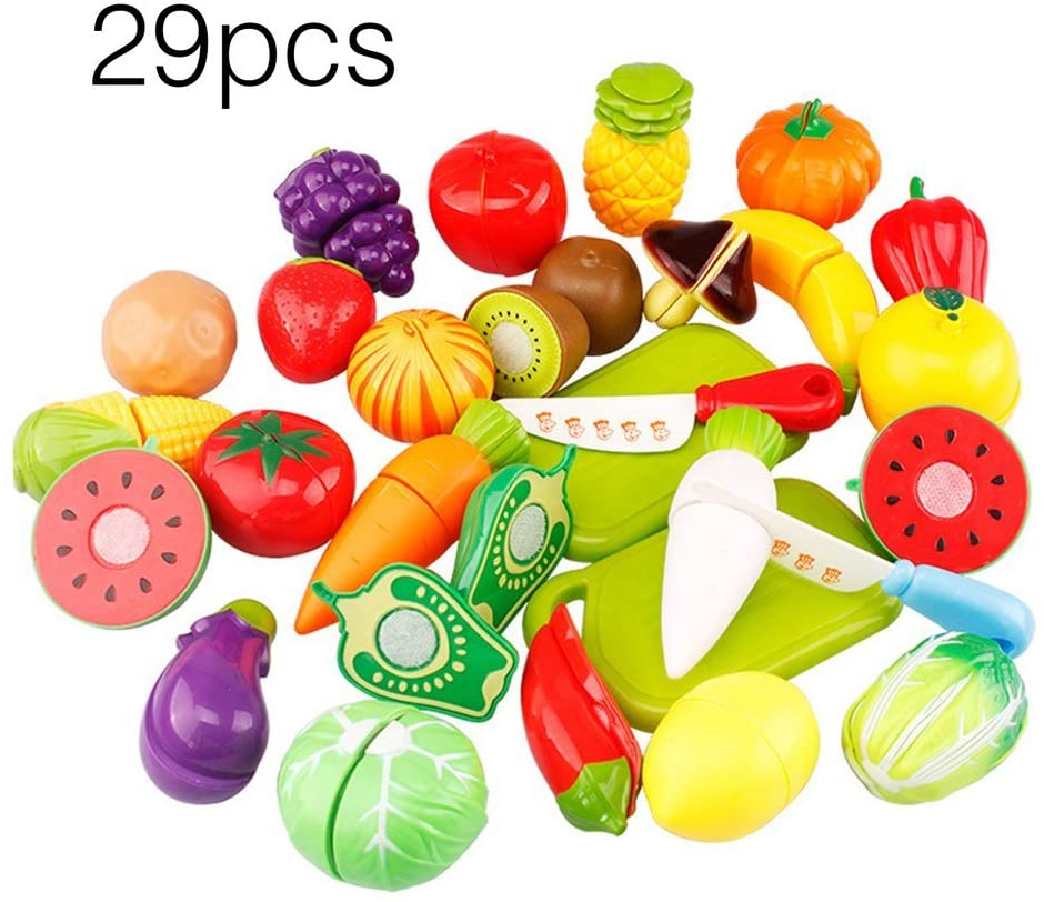 29 Pcs Plastic Playsets Fruits Vegetables Game Children Educational Toys Set Cut Food Toy for Baby