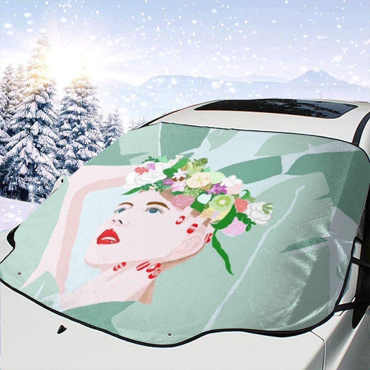 THONFIRE Car Front Window Windshield Frost Sun Shades Banana Leaf Leaves Girl Cover Windproof Blocks Heat Damage Free Visor Protector Trucks Spring Heatshield