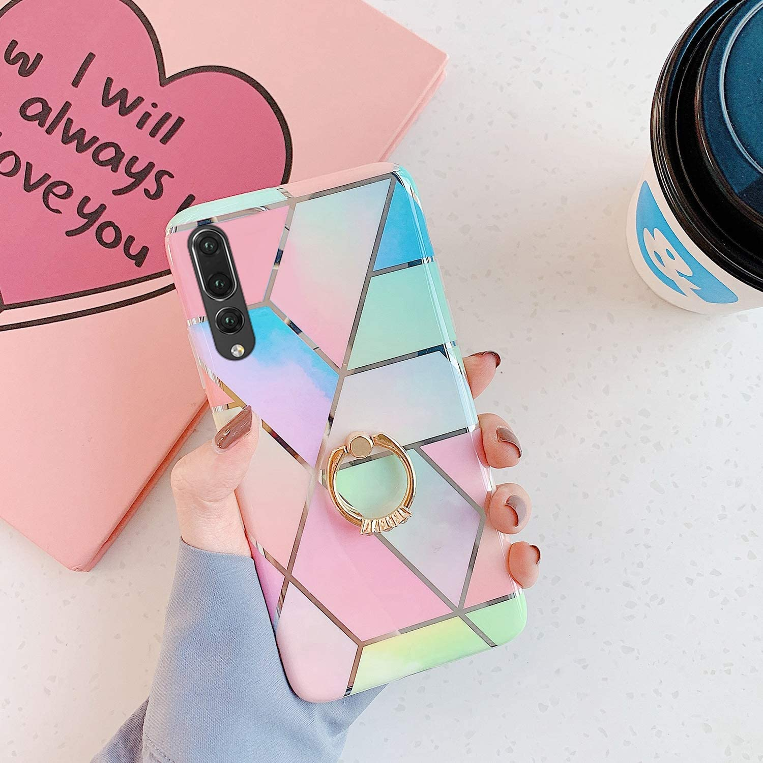 Herbests Compatible with Huawei P20 Pro Case Girl Women Geometric Marble Shockproof Soft Silicone Clear Bumper Glossy Glitter Sparkle Cute Case with Diamond Ring Holder Stand,Blue Pink