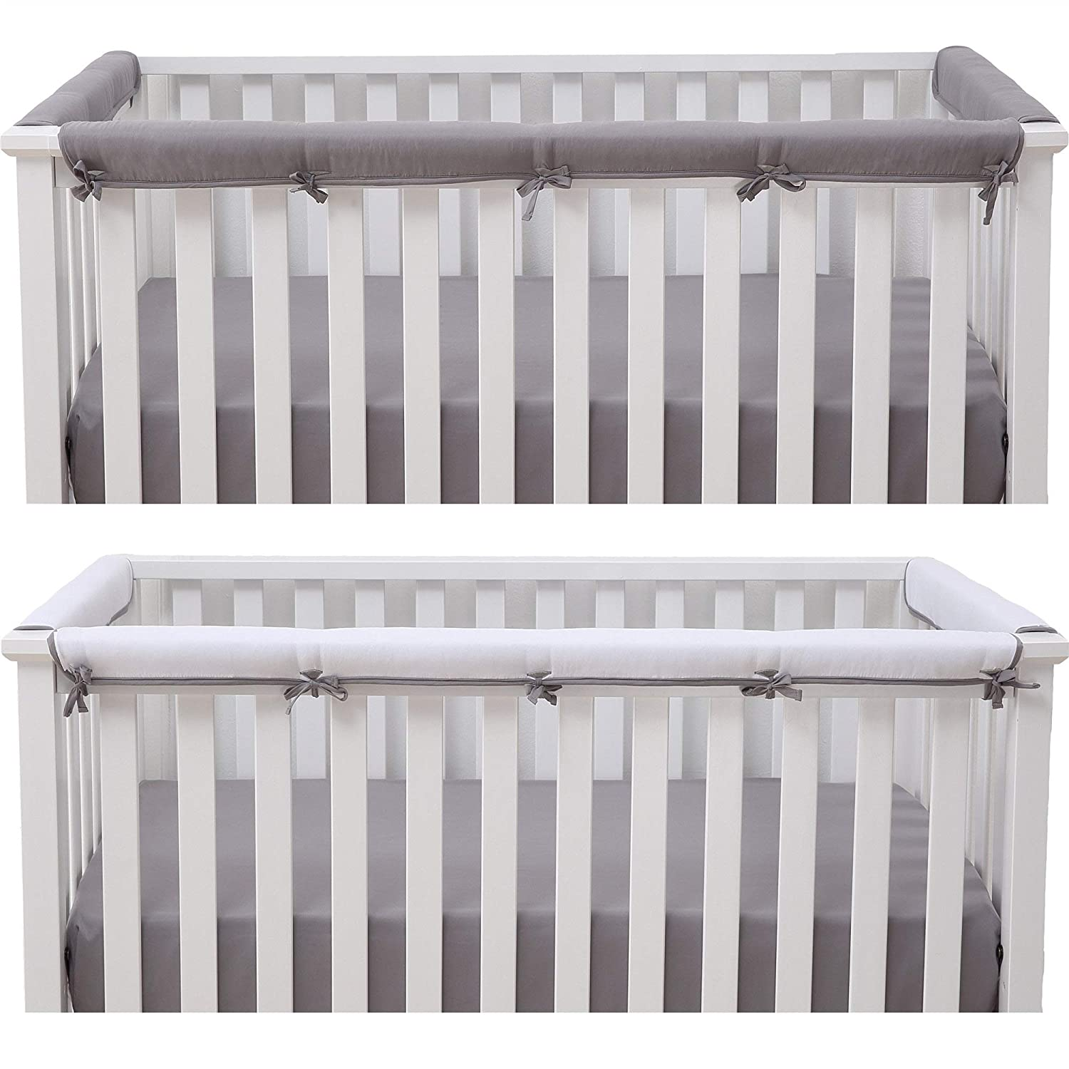 Belsden Baby Safe Crib Rail Cover 3 Pack Set for 1 Long and 2 Side Rails, Reversible Breathable Padded Crib Teething Guard Protector for Boys Girls, Measure up to 8 inches Around, Gray and White Color