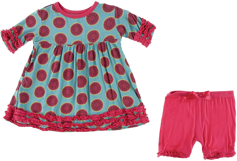 KicKee Pants Print Short Sleeve Babydoll Outfit Set