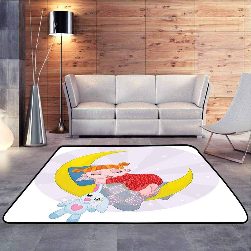 Floor Mat Girl On The Moon with Her Teddy Bear Sleeping Luna Night Dream Cartoon Extra Soft and Comfy Carpet Suitable for Children to Play, 6.5 x 10 Feet