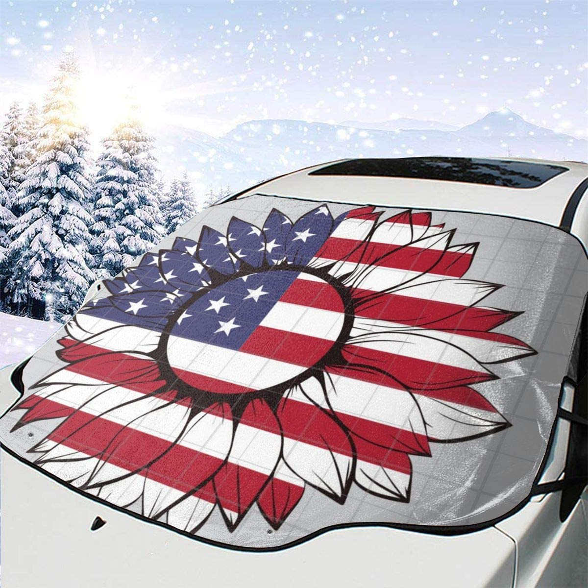 THONFIRE Car Front Window Windshield Ice Sunshade American Flag Sunflower Cover Sand Proof Blocks UV Rays Damage Free Visor Protector Automotive Autumn Heatshield