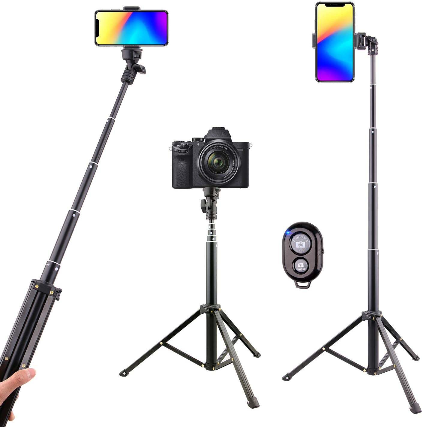 Selfie Stick Tripod Bluetooth, LATZZ 54 Inch Phone Tripod Selfie, Extendable iPhone Stand Tripod with Wireless Remote Shutter Compatible iPhone 11 Pro/Xs MAX/XR/X/8/8P/7/Galaxy Note 8/S10/S9+/S9, More