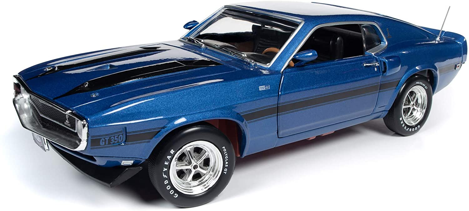 American Muscle 1969 Ford Mustang Shelby GT-350 Fastback Pilot Car Blue Metallic (MCACN) 50th Anni. of The Boss Engines 1/18 Diecast Model Car by Autoworld AMM1188